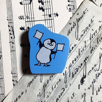 Kodomo no kao Rubberstamp - Penguin with flags