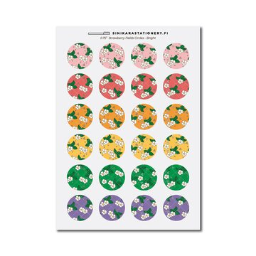 Sinikara Stationery Tarra-arkki Strawberry Fields Circle (Bright)
