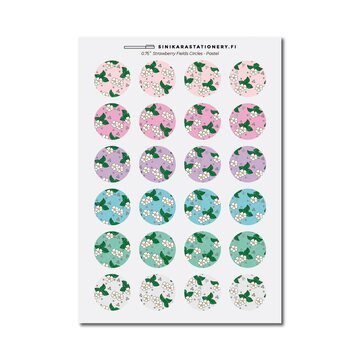 Sinikara Stationery Tarra-arkki Strawberry Fields Circle (Pastel)
