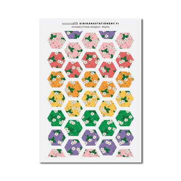 Sinikara Stationery Tarra-arkki Strawberry Fields Hexagons (Bright)