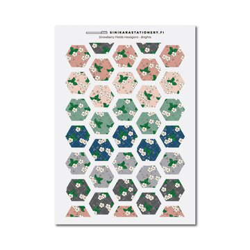 Sinikara Stationery Tarra-arkki Strawberry Fields Hexagons (Muted)