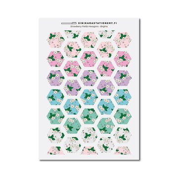 Sinikara Stationery Tarra-arkki Strawberry Fields Hexagons (Pastel)