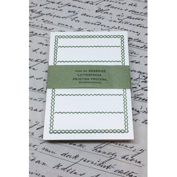Classiky Letterpress Memo Card - Green