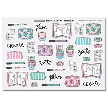 Sinikara Stationery Planner Stickers Planner Goodies Pastel