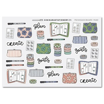 Sinikara Stationery Planner Stickers Planner Goodies Muted