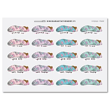 Sinikara Stationery Planner Stickers Sleepy Girls Pastel