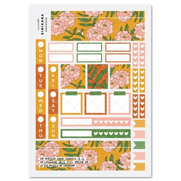 Sinikara Stationery Planner Stickers Hobonichi Weeks Kit - Once and Floral Orange