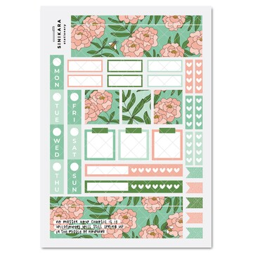 Sinikara Stationery Planner Stickers Hobonichi Weeks Kit - Once and Floral Green