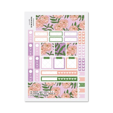 Sinikara Stationery Planner Stickers Hobonichi Weeks Kit - Once and Floral Violet
