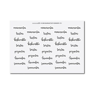 Sinikara Stationery Weekdays (Finnish) Stickers