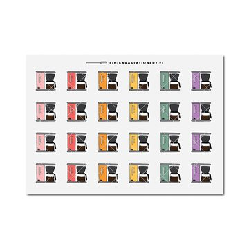 Sinikara Stationery Planner Stickers Colorful Coffee Makers