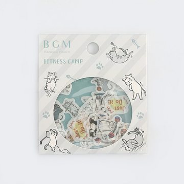 BGM Washi Sticker Flakes Cat Fitness Camp