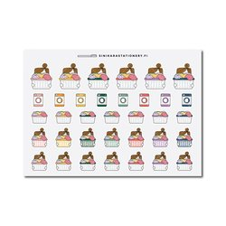 Sinikara Stationery Planner Stickers Laundry Girls