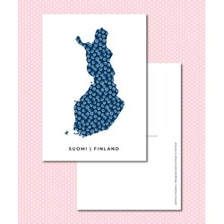Sinikara Stationery Postcard Map of Finland Blueberries - Blue