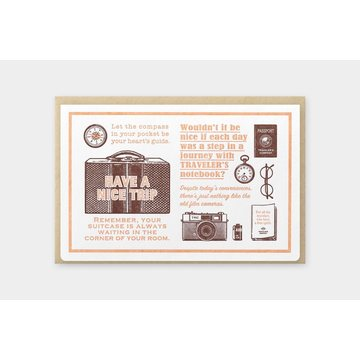 Traveler's Company Limited Edition Travel Tools Letterpress Greeting Card Brown