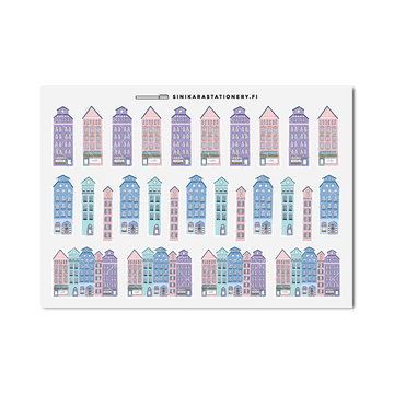 Sinikara Stationery Planner Stickers Christmas Houses (Pastel)