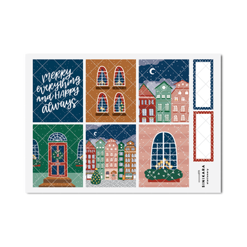 Sinikara Stationery Planner Stickers Christmas Town Full Box (Basic Colors)