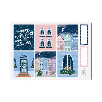 Sinikara Stationery Planner Stickers Christmas Town Full Box (Pastel Colors)