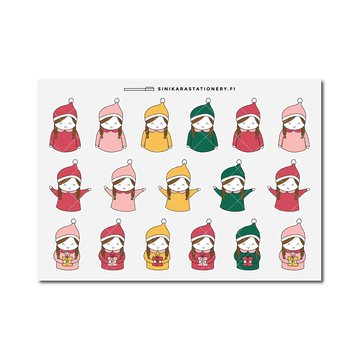 Sinikara Stationery Planner Stickers Christmas Girls