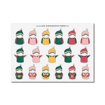 Sinikara Stationery Planner Stickers Christmas Boys