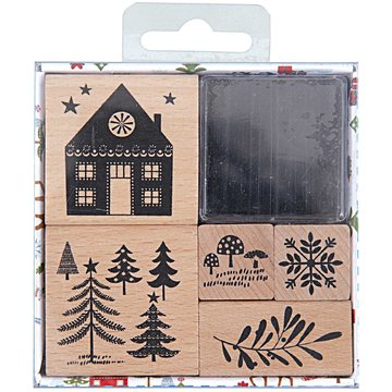 Paper Poetry Rubberstamp Set Woodland Christmas
