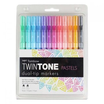 Tombow Twintone 12 Dual-Tip Markers Pastel