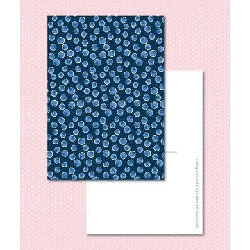 Sinikara Stationery Postcard Blueberries Blue