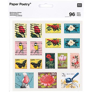 Paper Poetry Vintage Stamp Stickers 6 sheets
