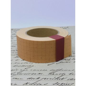 Classiky Grid Kraft Paper Tape 30mm - Red