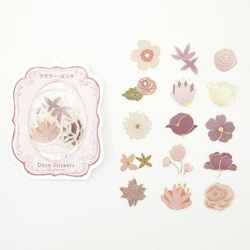 BGM Washi Sticker Flakes Pink Flowers Foil