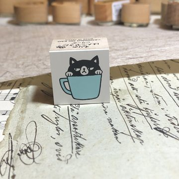 Kodomo no kao Rubberstamp Black cat in a cup