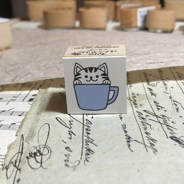Kodomo no kao Rubberstamp Striped Cat in a Cup