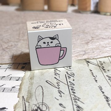 Kodomo no kao Rubberstamp White Cat in a Cup