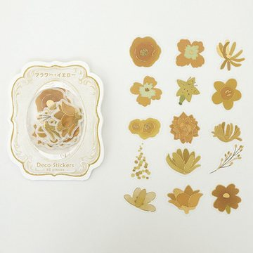 BGM Washi Sticker Flakes Yellow Flowers Foil